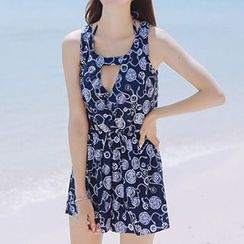 Little Dolphin - Women Set: Print Bikini + Beach Cover-Up / Men Swim Trunks