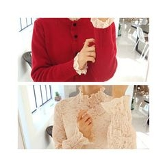 LEELIN - Mock-Neck Ruffle-Sleeve Lace Top