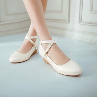 Shoes Galore - Cross Strap Low Wedge Pumps