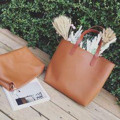 ICE ELF - 套裝: 人造皮手提袋 + 拉鍊小袋