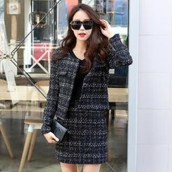 migunstyle - Set: Round-Neck Tweed Cardigan + Tweed Miniskirt