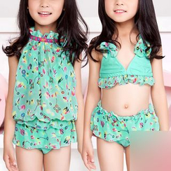 Charmaine - Kids Set: Printed Bikini + Cover-up