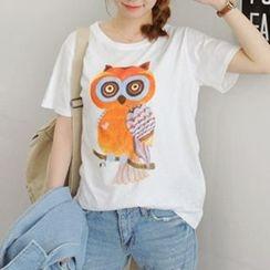 Ranee - Short-Sleeve Owl-Print T-Shirt