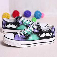 HVBAO - Painted Moustache Canvas Sneakers