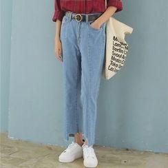 Hanme - Asymmetric-Hem Wide-Leg Cropped Jeans