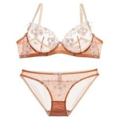Osemiss - Set: Flower Embroidered Bra + Panties