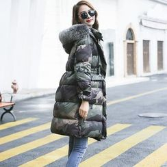 Romantica - Furry-Trim Camouflage Puffer Coat