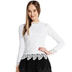 O.SA - Long-Sleeve Notched-Neck Crochet Top