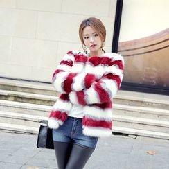 DABAGIRL - Stripe Faux-Fur Jacket