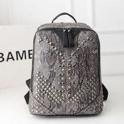 Bibiba - Studded Snake Print Backpack