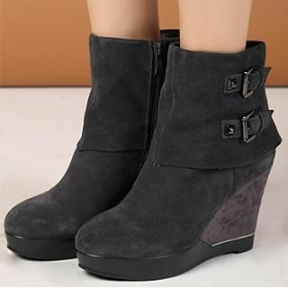 Exull - Genuine-Leather Buckled Wedge Boots