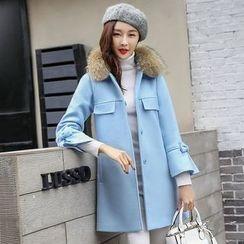 Romantica - Furry-Collar Bow-Cuff Coat