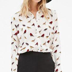 Richcoco - Bird Print Chiffon Shirt