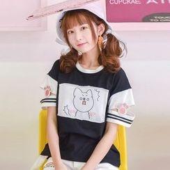 Moriville - 貓咪印花短袖T恤