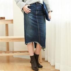 GLAM12 - Distressed-Hem Denim Skirt