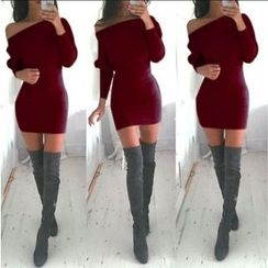 Dream a Dream - Off Shoulder Long Sleeve Sheath Dress