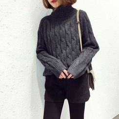 A7 SEVEN - Turtleneck Cable-Knit Sweater