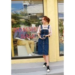 VANILLAMINT - Buttoned Denim Jumper Skirt