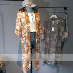 Glovon - Floral Print Long Chiffon Jacket