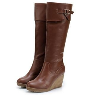 Exull - Buckled Wedge Tall Boots