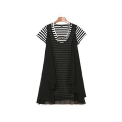 GRACI - Set: Short-Sleeve Striped T-Shirt + Sleeveless Chiffon Dress