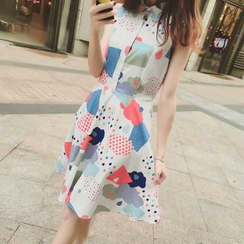 EFO - Sleeveless Printed Chiffon Dress