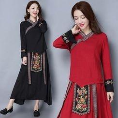 Diosa - 套裝: 刺繡麻布棉質裙 + 上衣