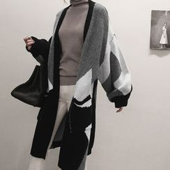 NANING9 - Color-Block Open-Front Cardigan