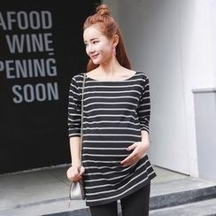Oulimom - Maternity Striped Long-Sleeve T-Shirt