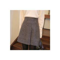 CHERRYKOKO - Herringbone Wool Blend A-Line Mini Skirt