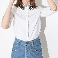 Richcoco - Embroidered Pencil Elbow-Sleeve Blouse