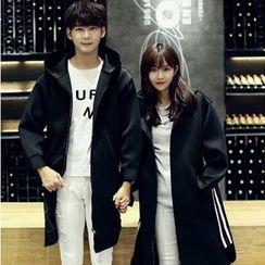 Evolu Fashion - Couple Matching Striped Neoprene Hooded Long Jacket