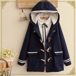 布衣天使 - 條紋牛角扣連帽大衣