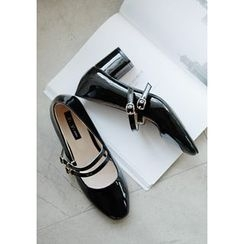 GOROKE - Double-Strap Patent Mary Jane Pumps