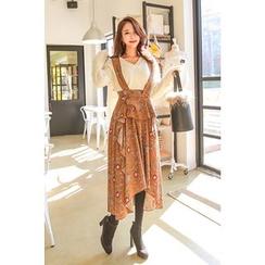 PPGIRL - Ruffle-Trim Floral Print Suspender Dress