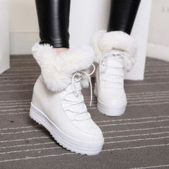 Yoflap - Furry Lace Up Short Boots