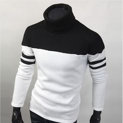WIZIKOREA - Turtle-Neck Color-Block T-Shirt