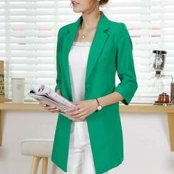 Eferu - Plain 3/4 Sleeve Long Blazer