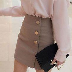 Seoul Fashion - Buttoned-Detail Mini Pencil Skirt