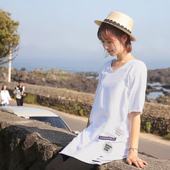 CLICK - Elbow-Sleeve Appliqué T-Shirt
