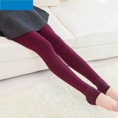 Shopin - Inset Ruched Skirt Leggings / Fleece-Lined Leggings