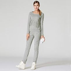O.SA - Set: Crochet-Panel Pullover + Sweatpants