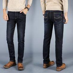 Denimic - Fleece Lined Straight-Cut Jeans