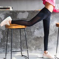 Morning Body - Quick Dry Mesh Panel Skinny Pants