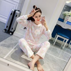 Honey Diary - Pajama Set: Printed Long Sleeve Top + Pants