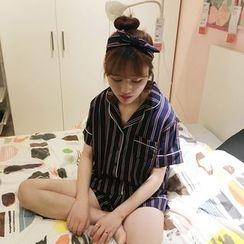MATO - Pajama Set: Short-Sleeve Striped Shirt + Shorts
