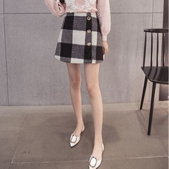 Coolvibe - Plaid A-Line Skirt