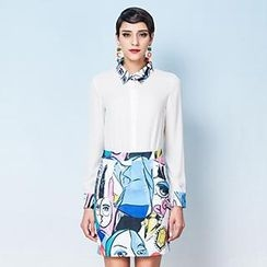 YiGelila - Set: Contrast-Trim Shirt + Printed Pencil Skirt
