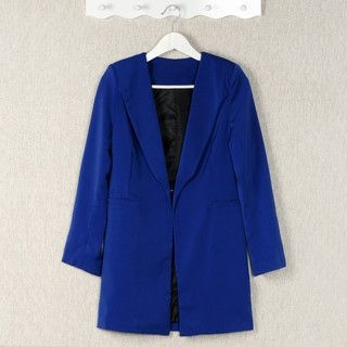 YesStyle Z - Padded-Shoulder Hidden-Hook Long Blazer
