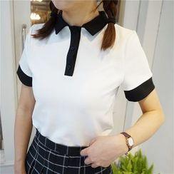 Whitney's Shop - 配色邊短袖馬球衫